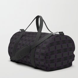 Black Gingham Pattern with Purple Accent Duffle Bag