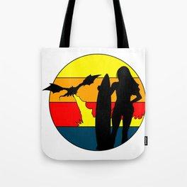 Dragon Vs. Surfer Girl 1970s Beach Design Tote Bag
