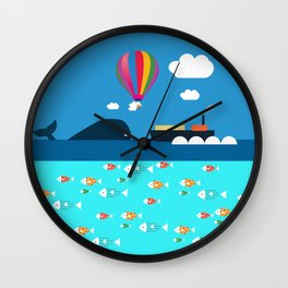 Meeting with whale Wall Clock