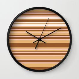 Coffee color stripes Wall Clock