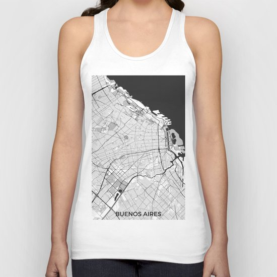 Buenos Aires City Map Gray Unisex Tank Top