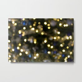 White Blue and Green Christmas Bokeh 2 Metal Print