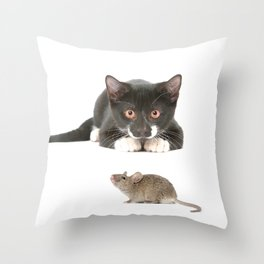 Cat and the Mouse Throw Pillow