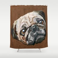 pug Shower Curtains featuring pug by Ancello