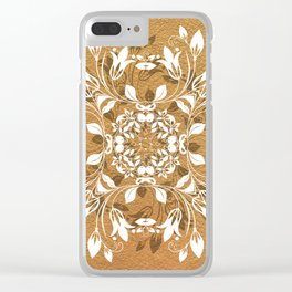 ELEGANT GOLD AND WHITE FLORAL MANDALA Clear iPhone Case