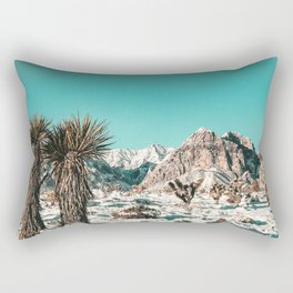 Vintage Lovers Cacti // Red Rock Canyon Mojave Nature Plants and Snow Desert in the Winter Rectangular Pillow