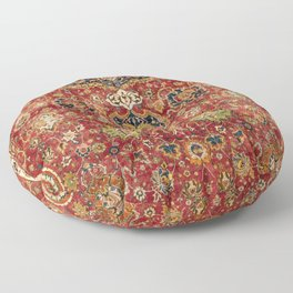 Indian Boho II // 16th Century Distressed Red Green Blue Flowery Colorful Ornate Rug Pattern Floor Pillow