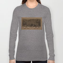 Vintage Pictorial Map of Durham NC (1891) Long Sleeve T-shirt
