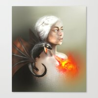 mother of dragons Canvas Prints featuring mother of dragons  by KazuneKoi