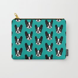 Double Hooded Pied French Bulldog Puppy Carry-All Pouch