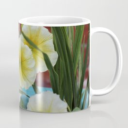 Yellow Petunias with Brick Wall Background Coffee Mug