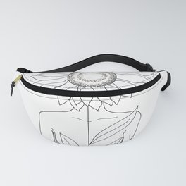 Minimalistic Line Art of Woman with Sunflower Fanny Pack