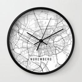 Nuremberg Map, Germany - Black and White Wall Clock