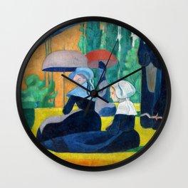 Breton Women With Umbrellas - Digital Remastered Edition Wall Clock