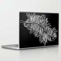 banana leaf Laptop & iPad Skins featuring Banana Leaf Black & White Doodle Art Black Edition by martywoodskk