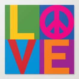 Love Peace Color Blocked Canvas Print