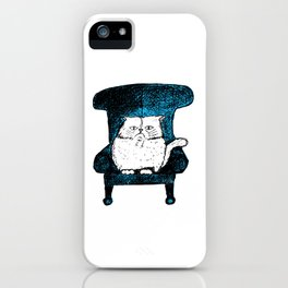 Staring Cat (Blue) iPhone Case