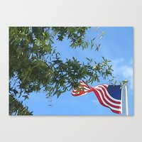 american flag Canvas Prints featuring American Flag  by KCavender Designs