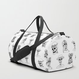 Dia De Los Muertos Black and White Pattern Duffle Bag
