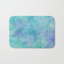 Teal and Blue Tropical Marble Watercolor Texture Bath Mat