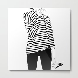 Black Stripes Metal Print