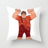 wreck it ralph Throw Pillows featuring I'm Gonna Wreck It! by shaunaoconnor