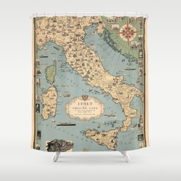 1935 Vintage Map of Italy and Vatican City Shower Curtain