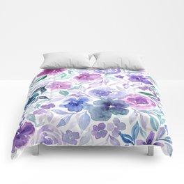 Watercolor Wildflower Meadow Floral Print Comforters