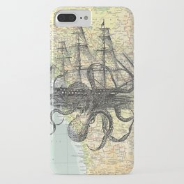 Octopus Attacks Ship on map background iPhone Case