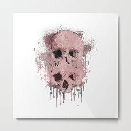 Pink & Grey Skull Drip Metal Print