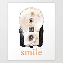 Retro Watercolor Camera SMILE! Art Print
