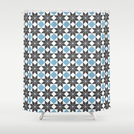 8 Point Star Pattern, Dusk Blue, Charcoal Black Shower Curtain