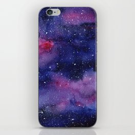 Watercolor Galaxy Nebula Pink Purple Sky Stars iPhone Skin