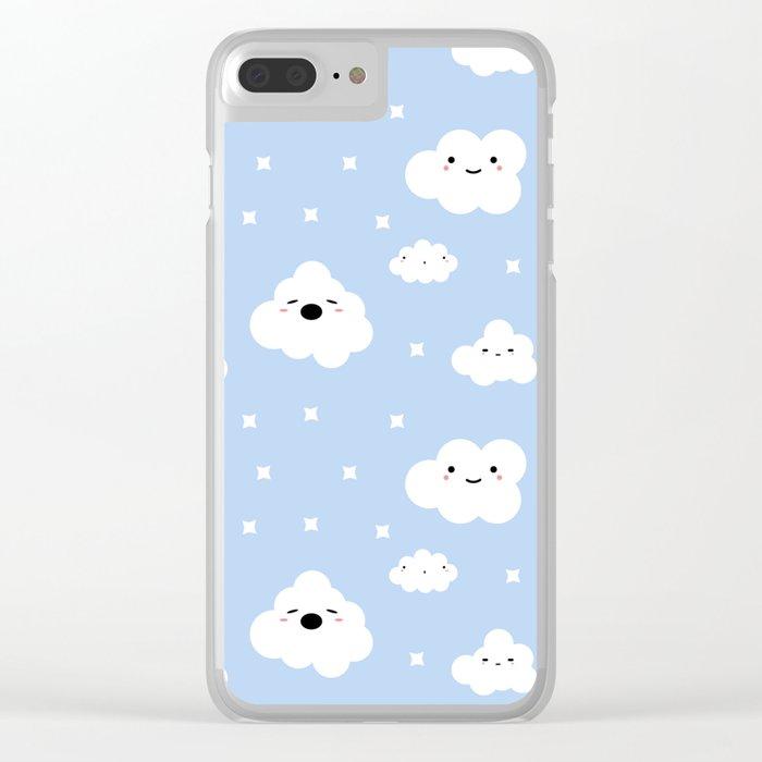 Blue Clouds Clear iPhone Case