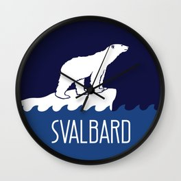 Svalbard Dark Season Travel Poster - Norway Wall Clock