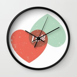 Two lovely hearts Wall Clock