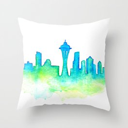 Seattle Skyline Watercolor in Blue and Green Throw Pillow