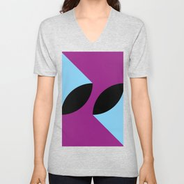 Two 3d seeds being thrown strongly, in a purple space. Unisex V-Neck