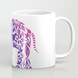 Floral Elephant in Rainbow Gradient Coffee Mug