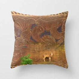 Deer Sheltering in the Storm Throw Pillow