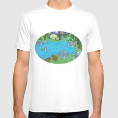 Pine Forest White Mens Fitted Tee MEDIUM