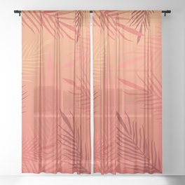 Living coral palm leaves Sheer Curtain