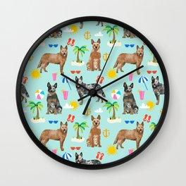 Australian Cattle Dog beach tropical pet friendly dog breed dog pattern art Wall Clock