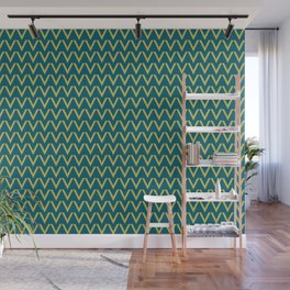 Dark Yellow V Shape Horizontal Line Pattern on Tropical Dark Teal Inspired by Sherwin Williams 2020 Trending Color Oceanside SW6496 Wall Mural