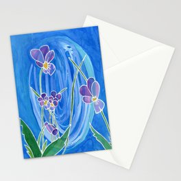 Violet Swirl Stationery Cards