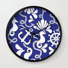 NAUTICAL THEME IN BLUE AND WHITE Wall Clock