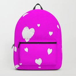 Hand-Drawn Hearts (White & Magenta Pattern) Backpack