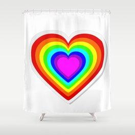 Lbgt rainbow heart Shower Curtain