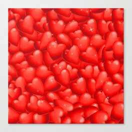 Red Hearts Pattern.Red Hearts Overlapping. Valentine. Hearty Hearts. Love Hearts Canvas Print