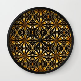 Floral motive gold Wall Clock